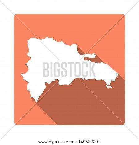 Vector Dominican Republic Map Button. Long Shadow Style Dominican Republic Map Square Icon Isolated