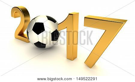 Year 2017 with soccer ball on the white background, 3d-illustration