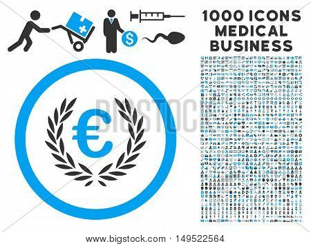 Euro Glory icon with 1000 medical business gray and blue glyph design elements. Collection style is flat bicolor symbols white background.