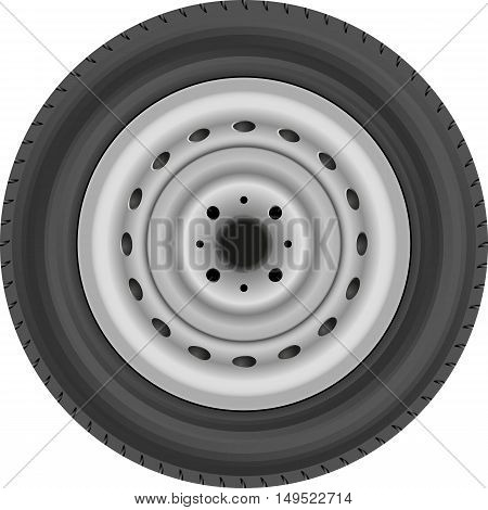isolated car wheel with tire - vector illustration