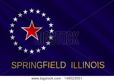 Flag of Springfield is the capital of Illinois state in United States. 3D illustration
