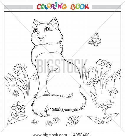 Coloring book or page. Cat sit on grass among flowers and butterfly. Vector illustration.
