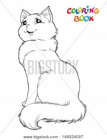 Coloring book or page. Siting cat - Vector illustration
