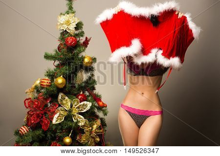 sexy santa claus woman or girl with bare belly in panties holding new year red costume near decorated Christmas tree on grey background