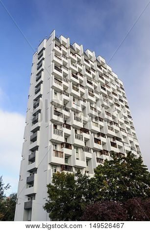 Multi-storey white dwelling house on Masherov avenue in Minsk Belarus