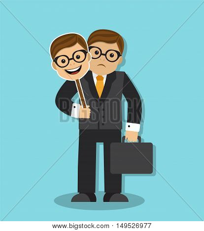 sad businessman holding a mask of cheerful and friendly person