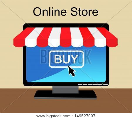 Monitor the store awning and sign online shop