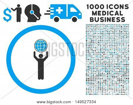 Globalist icon with 1000 medical business gray and blue glyph pictographs. Clipart style is flat bicolor symbols white background.
