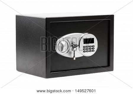 Black metal safe box with numeric keypad locked system and keys on white background poster