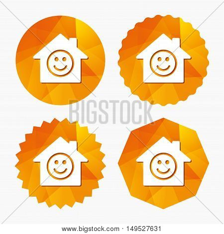 Comedy club. Smile icon. Happy face chat symbol. Triangular low poly buttons with flat icon. Vector