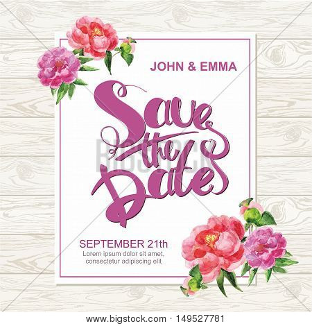 Marriage invitation card with save the date tag and watercolor flower frame over wooden background. Vector illustration.