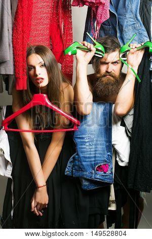 Fashion Couple In Closet