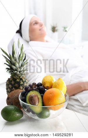 Fruit acids, beauty treatment. Treatment with fruit acids, a woman in the beauty salon.