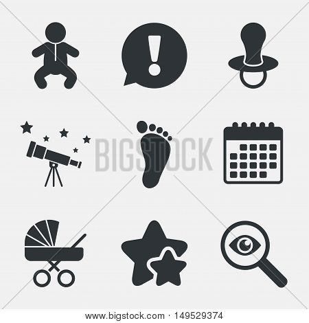 Baby infants icons. Toddler boy with diapers symbol. Buggy and dummy signs. Child pacifier and pram stroller. Child footprint step sign. Attention, investigate and stars icons. Vector