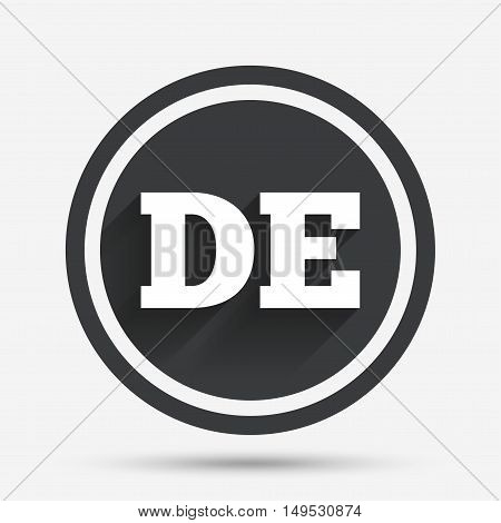 German language sign icon. DE Deutschland translation symbol. Circle flat button with shadow and border. Vector