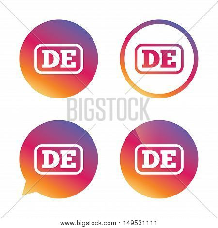 German language sign icon. DE Deutschland translation symbol with frame. Gradient buttons with flat icon. Speech bubble sign. Vector