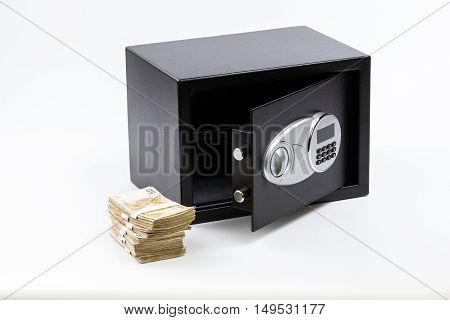 Open Safe Deposit Box Pile of Cash Money Euros. on white background