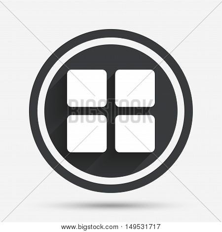 Thumbnails sign icon. Gallery view option symbol. Circle flat button with shadow and border. Vector