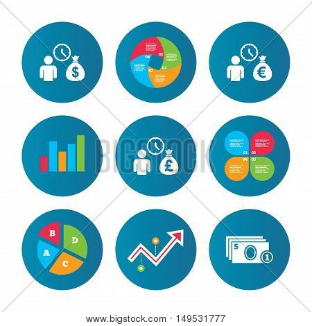 Business pie chart. Growth curve. Presentation buttons. Bank loans icons. Cash money bag symbols. Borrow money sign. Get Dollar money fast. Data analysis. Vector