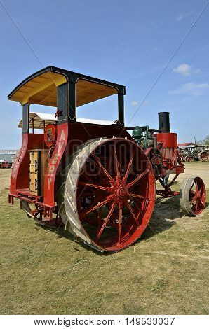 ROLLAG, MINNESOTA, Sept 1. 2016: A restored Avery Company tractor is displayed at the annual WCSTR farm show in Rollag held each Labor Day weekend where 1000's attend