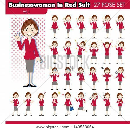 set of various poses of businesswoman in red suit