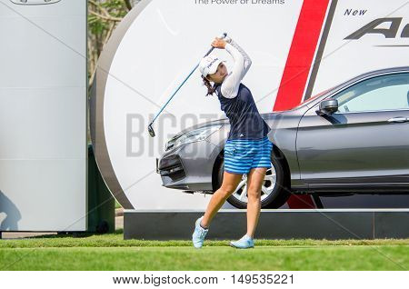 CHONBURI - FEBRUARY 28 : I.K. Kim of South Korea in Honda LPGA Thailand 2016 at Siam Country Club Pattaya Old Course on February 28 2016 in Chonburi Thailand.