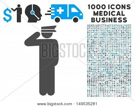 Police Officer icon with 1000 medical business gray and blue glyph pictograms. Design style is flat bicolor symbols, white background.