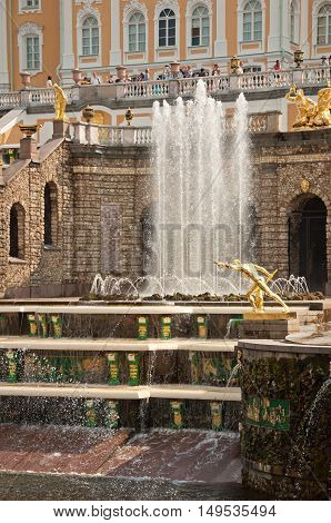 Grand Cascade In Peterhof, St Petersburg, Russia