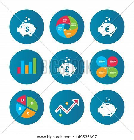 Business pie chart. Growth curve. Presentation buttons. Piggy bank icons. Dollar, Euro and Pound moneybox signs. Cash coin money symbols. Data analysis. Vector