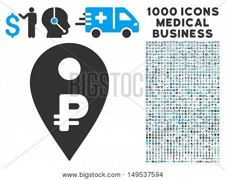 Rouble Map Marker icon with 1000 medical commercial gray and blue glyph pictographs. Collection style is flat bicolor symbols, white background.