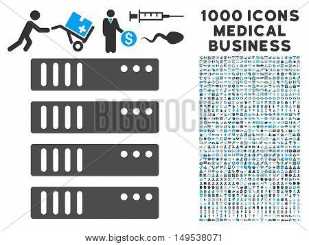 Server icon with 1000 medical commerce gray and blue glyph pictographs. Collection style is flat bicolor symbols, white background.