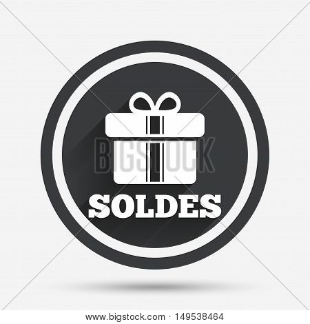 Soldes - Sale in French sign icon. Gift box with ribbons symbol. Circle flat button with shadow and border. Vector