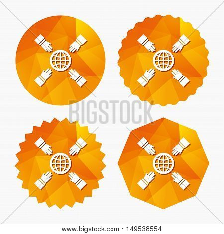 Hands reach for earth sign icon. Save planet symbol. Triangular low poly buttons with flat icon. Vector
