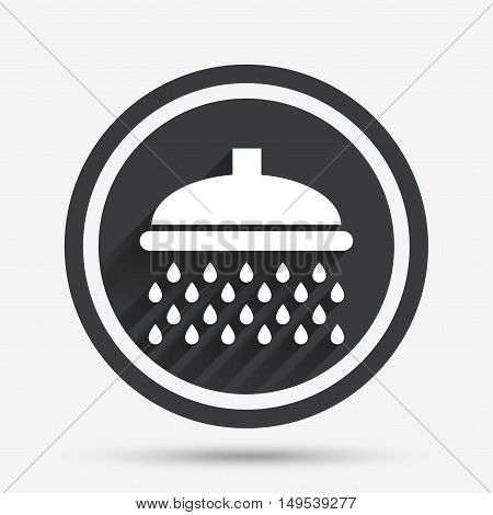 Shower sign icon. Douche with water drops symbol. Circle flat button with shadow and border. Vector