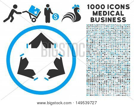 Tent Camp icon with 1000 medical commerce gray and blue glyph pictograms. Clipart style is flat bicolor symbols, white background.