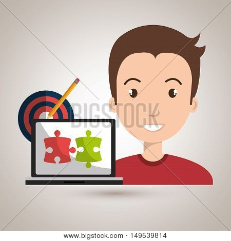 man laptop creative innovation vector illustration eps 10