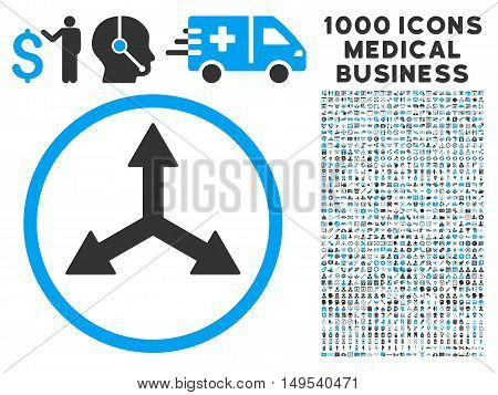 Triple Arrows icon with 1000 medical commerce gray and blue glyph pictographs. Set style is flat bicolor symbols, white background.