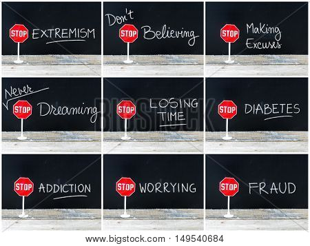 Photo Collage Of Stop Messages Written On Chalkboard