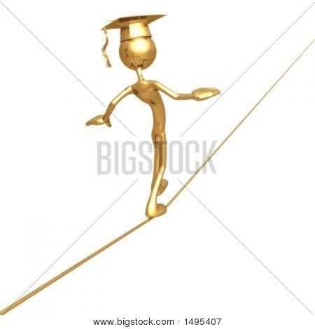 Geoz04380Golden Grad Tight Rope Walking Graduation Concept