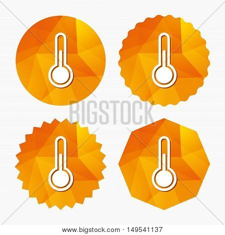 Thermometer sign icon. Temperature symbol. Triangular low poly buttons with flat icon. Vector