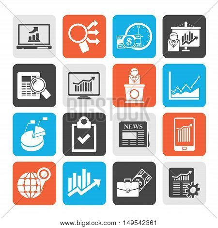 Silhouette Business and Market analysis icons - vector icon set