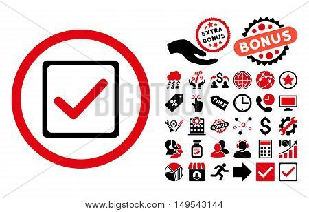 Checkbox icon with bonus pictogram. Glyph illustration style is flat iconic bicolor symbols, intensive red and black colors, white background.