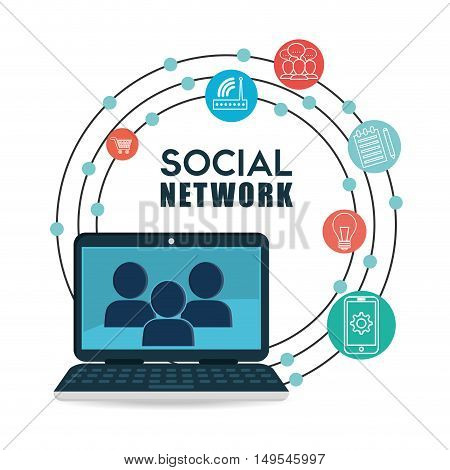 Social network computer mensagge global connected icon