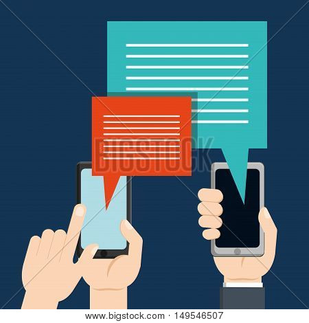 Social network cellphone hands message long icon