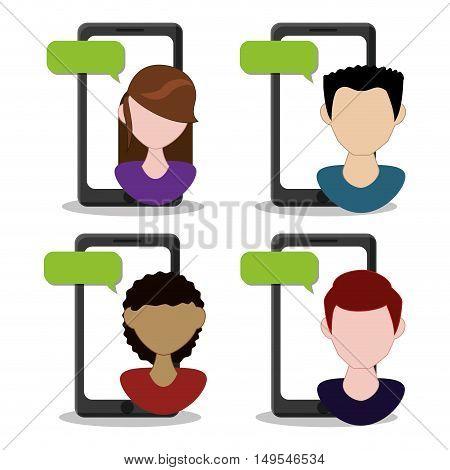 Social netwok conversation people message cellphones global