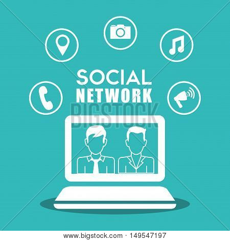 Social network computer laptop isolated icon around