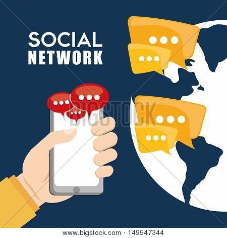 Social network world connection message cellphone icon