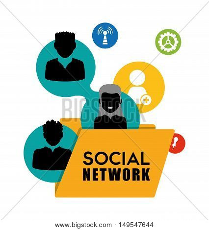 Social network person business connected internet global