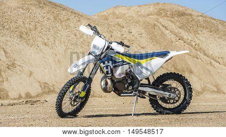 Khabarovsk, Russia - September 29, 2016: Husqvarna TE 300 2017 Motocross bike Enduro in sand quarry , pre-workout.