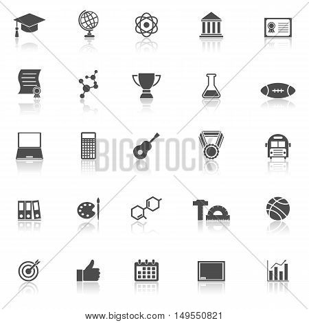 College icons with reflect on white background, stock vector